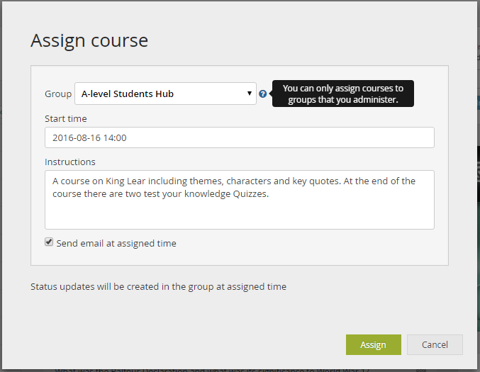 assign a course admin