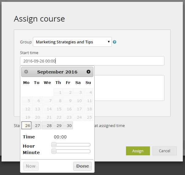 course builder assign